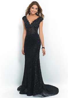 Blush 10010 Long Black Lace V Neck Evening Dresses 2015 e97005fc1569