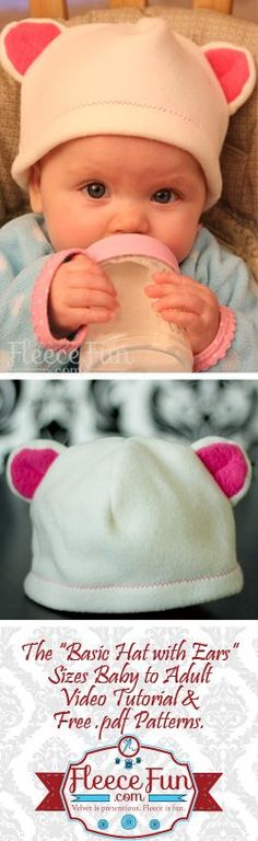 Basic Hat With Bear Ears – free fleece hat pattern!