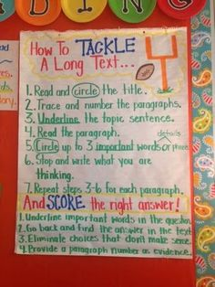 How to Tackle a Long Text Anchor Chart. This is a great anchor chart to help students with test taking!