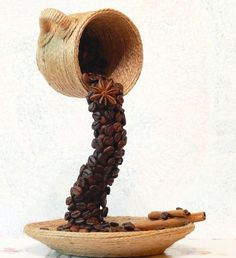 DIY home crafts creative idea flying coffee cup beans