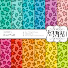 70  OFF Colorful Leopard digital paper by LaBoutiqueDeiColori Scrapbook paper