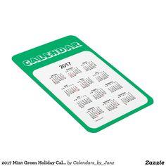 2017 Mint Green Holiday Calendar by Janz Rectangular Photo Magnet