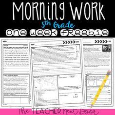 Morning Work for Grade: Free Week by The Teacher Next Door Teacher Pay Teachers, School Play, School Stuff, Teaching Math, Teaching Ideas, Bell Work, Thing 1, Fifth Grade