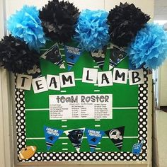 @tattooedteacherblog created this fun Carolina @panthers bulletin board for her classroom complete with her 'team roster'. She added our double sided border around the edge to add some fun jumbo polka dots!