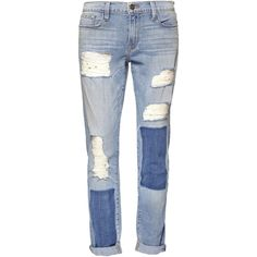 Frame Denim Garcon Boyfriend Jeans ($240) ❤ liked on Polyvore featuring jeans, pants, bottoms, trousers, denim, destroyed jeans, torn boyfriend jeans, ripped jeans, blue denim jeans and distressed denim jeans