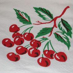 Vintage Cherry CHERRIES Tablecloth Look Flour Sack Kitchen Towel - up close
