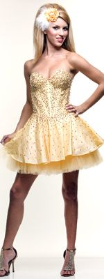 2012 Homecoming Dresses Saucy Yellow Beaded Strapless Taffeta & Tulle Prom Dress - XS to XL