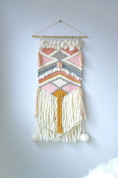 "Woven tapestry / ""Good as Gold"" / wall hanging / weaving / cream gray gold pink and peach yarn with long curly cream fringe"