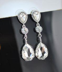 Stella Vintage Inspired crystal EARRINGS Bridal by modwedding, $34.00