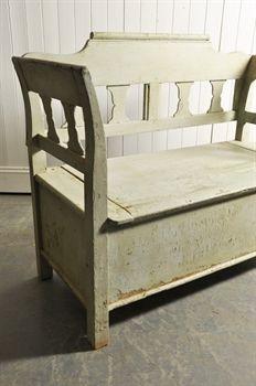 19th Century Hungarian Box Bench - Vintage Furniture - Original House