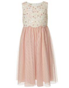blush and sequin flower girl dress