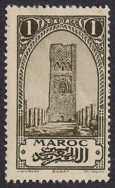 Estampilla Marruecos, 1923 - Torre Hasán en Rabat