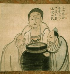 """Buddha, Confucius and Lao-Tzu"" by Hakuin (Three witches? Zen Painting, Japan Painting, Three Witches, Taoism, Korean Art, Buddhist Art, Religious Art, Drawing People, Japanese"