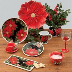 Susan+Winget+Pottery | ... Certified International Poinsettia Collection by Susan Winget