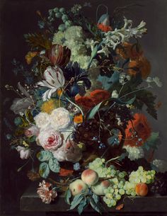 Jan van Huysum - Still Life with Flowers and Fruit (c. 1715)