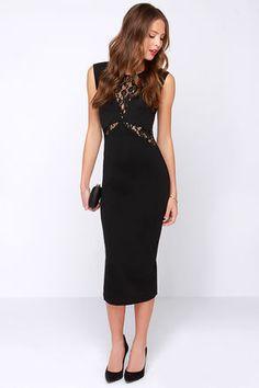 Chic Black Dress - Midi Dress - Lace Dress - Bodycon Dress - $81.00