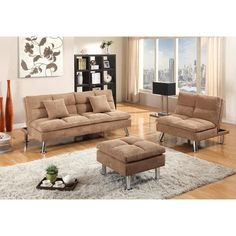 Get comfortable on this beige chenille futon, chair, and ottoman set. Avenger 3 Pc. Futon, Chair, and Ottoman | Weekends Only Furniture and Mattress