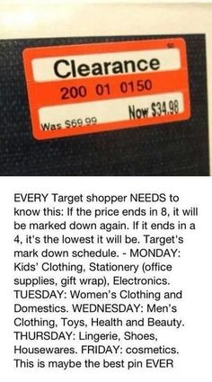 11 Money Saving Life Hacks -Target Store item markdown schedule