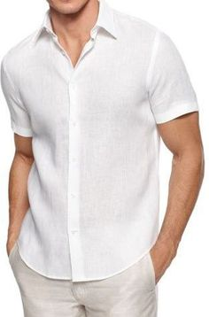 ** LOVE ** Man white groom linen shirt beach wedding party special occasion birthday summer short sleeve