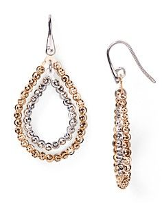 Officina Bernardi Moon Bead Double Hoop Earrings..Absolutely stunning...Rose Gold and Silver...