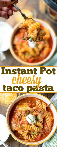Here is a really easy Instant Pot taco casserole recipe that is full of flavor and lots of cheese! Stir in a spoonful of sour cream for a creamy pressure cooker taco pasta made in just 10 minutes. Your whole family will surely love this flavorful dinner and it's delicious the next day if you have leftovers. #instantpot #pressurecooker #taco #casserole #pasta #easy #recipes #dinner #groundbeef