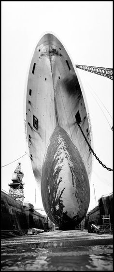 "Bruce Davidson, 1996.  Southampton. The ""Queen Elizabeth 2"" in dry dock for maintenance."