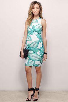 Dresses, Tobi, Ivory Multi Hawaiian Nights Bodycon Dress