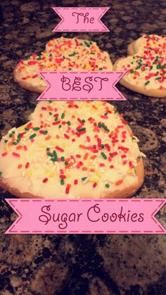 The BEST sugar cookies!! Can be cake like or a little crispy by your choice. Holds cookie cutter shape. #valentinesday #sugarcookies #soyummy #cakelike #dessert #treats