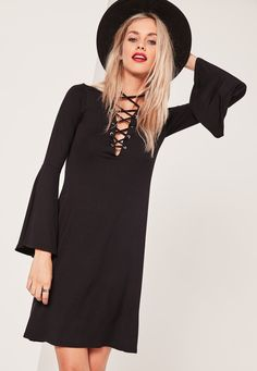 Missguided - Lattice Front Dress Black