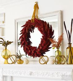 Thanks to unforgettable color and cool texture, sumac makes an ideal plant for fall decorating. Bonus: Using one kind of plant will save you precious time. To make the wreath, cut sumac branches, leaving 6-inch stems. Poke the stems into a wire form wreath base, working from left to right. Work all the way around the wreath, securing branches with wire if needed./