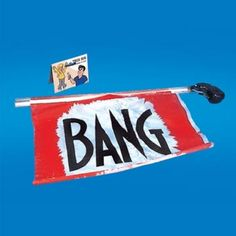 """This Bang Gun is a fun idea for pranks, props, and more! Features a plastic gun, when fired a red cloth flag pops out with """"Bang"""" printed in black lettering. Harley Quinn Halloween, Desk Toys, Joker Cosplay, Practical Jokes, Tours, Bar Mitzvah, Pranks"""