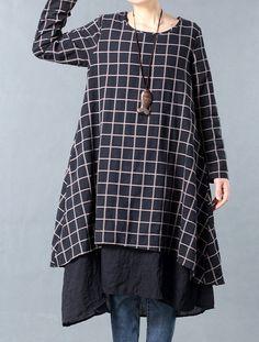 Mordenmiss Women's New Plaid Layers Irregular Hem Dress M Black