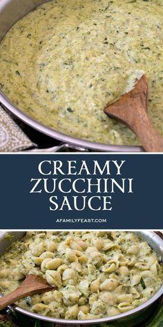 Make this delicious Creamy Zucchini Sauce with fresh garden zucchini and herbs. Zuchinni Recipes, Veggie Recipes, Vegetarian Recipes, Dinner Recipes, Cooking Recipes, Healthy Recipes, Amish Recipes, Dutch Recipes, Zucchini Bread