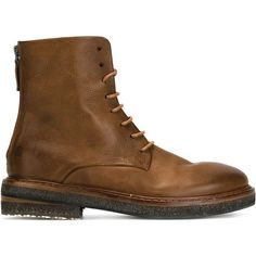 Marsèll lace-up combat boots ($875) ❤ liked on Polyvore featuring shoes, boots, ankle booties, brown, military boots, military lace up boots, combat booties, brown lace up booties and leather lace up booties
