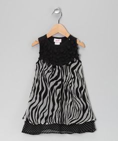 Take a look at this Black Zebra Double Layer Dress - Toddler & Girls by Baby Nay Collection on #zulily today!