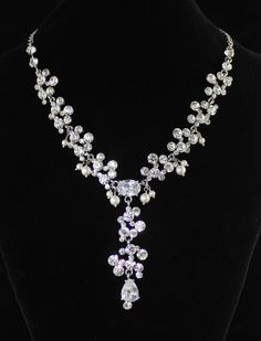 Crystal  Bridal Necklace, Wedding Jewelry, Crystal and Pearl Wedding Necklace, Statement Necklace OLIVIA on Etsy, $79.00
