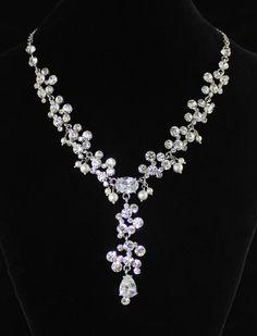 Crystal  Bridal Necklace, Wedding Jewelry, Crystal and Pearl Wedding Necklace, Statement Necklace OLIVIA on Etsy, $79.00
