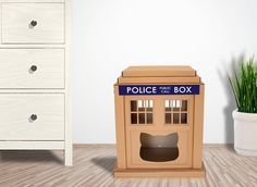 Who Tardis Cardboard Cat House is sustainable cat bed, suitable for your home interior, build from cardboard - favorite material for your Kitty. Cat House Plans, Cardboard Cat House, Interesting Animals, Woodworking Plans, Woodworking Videos, Dog Houses, Tardis, Cat Toys, Animals And Pets
