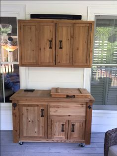 Outdoor TV & Media Wall Cabinet and Rustic Wooden Cooler Cabinet