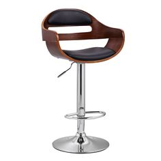 Adeco Walnut Low Back Off-black Adjustable Chair | Overstock.com Shopping - The Best Deals on Bar Stools
