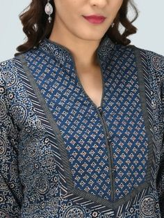 Latest neck designs for Kurtis - Indian Fashion Ideas Chudi Neck Designs, Salwar Neck Designs, Churidar Designs, Kurta Neck Design, Neck Designs For Suits, Sleeves Designs For Dresses, Neckline Designs, Kurta Designs Women, Dress Neck Designs