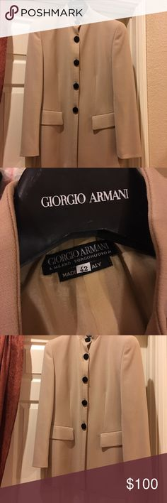 Giorgio Armani vintage high neck blazer Selling this amazing vintage Giorgio Armani blazer. So cute with the big black buttons. It's in excellent condition, no holes that I can see. 100% wool. It's size 42 in vintage, I would say about size 8 today. Please let me know if you have any questions. Giorgio Armani Jackets & Coats Blazers