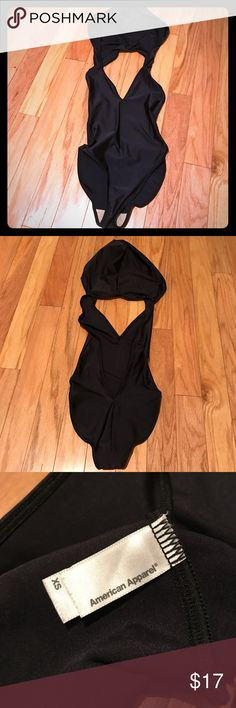 American Apparel Sexy Hooded Black Bodysuit XS Super sexy and fun shiny black bodysuit in a size XS. 80% Nylon, 20% Elasthan. Lining 100% Polyester. Can fit multiple sizes since it is so stretchy. Made in the USA! American Apparel Other