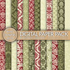 Christmas Damask Super Pack 24 Pack Digital by aestheticaddiction, $4.00