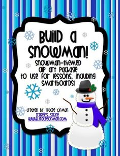 Snowmen clip art - includes the snowmen & the separate components to build your own or use for SMARTBoard games.