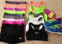 Nike workout gear   Cute Nike Pro Sport bras and workout Shorts for women @ http://www.FitnessApparelExpress.com