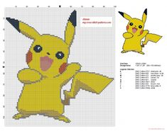 Smiling Pikachu Pokemon cross stitch pattern (click to view)