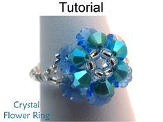 Beaded Crystal Flower Ring PDF Beading Pattern   Simple Bead Patterns