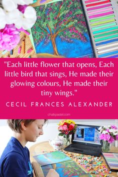 Enjoy a Vivaldi Composer art lesson along with a gorgeous spring tree art lesson in chalk pastelsI! All in the theme of Cecil Frances Alexander's All Things Bright and Beautiful quote. Each little flower that opens, each little bird that sings, He made their glowing colours, He made their tiny wings. You ARE an ARTiST in the You ARE an ARTiST Clubhouse with Nana. #youareanartistclubhouse #springartlessons #youareanartist Long Neck Dinosaur, Spring Tree, Unique Paintings, Chalk Pastels, World Of Color, Tree Art, Blue Bird, Art Lessons, Wings