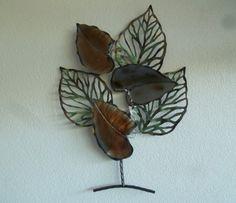 3D metalen wanddecoratie tak met bladeren Minco - Muurdecoratie Bomen - WANDDECORATIE METAAL | DEKOGIFTS